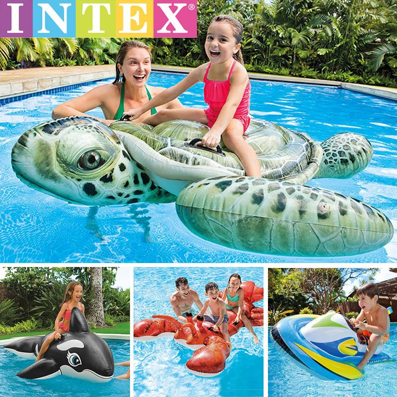 INTEX乌龟加厚水上充气玩具儿童坐骑鳄鱼动物大龙虾浮排v乌龟坐圈