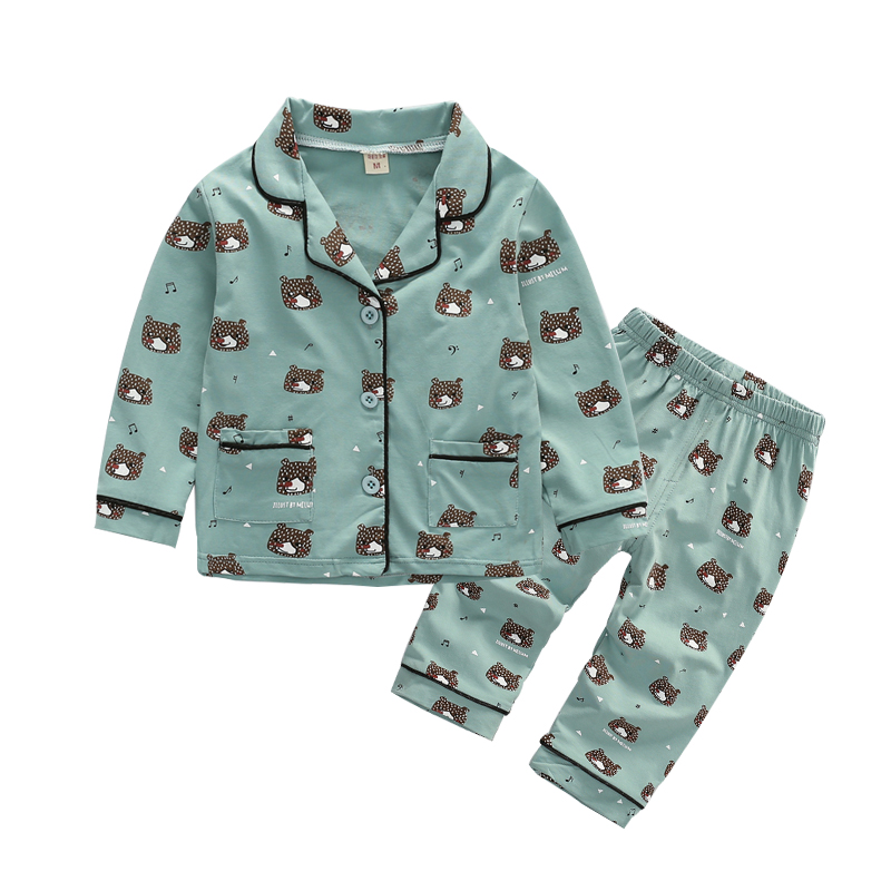套装男童宝宝长袖纯棉春秋款1-2-3-4-5岁睡衣6儿童秋季v套装居家服