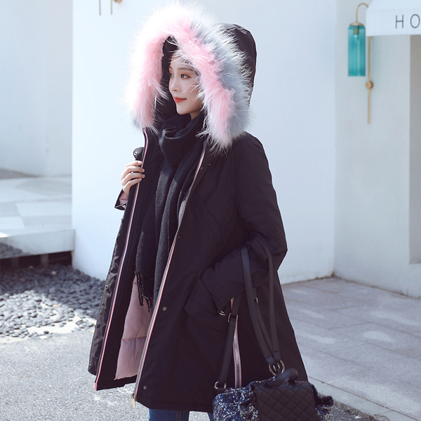 Real Shot 2018Chic Winter Long Coat New Down Jacket Thick Coat Female Bf Party