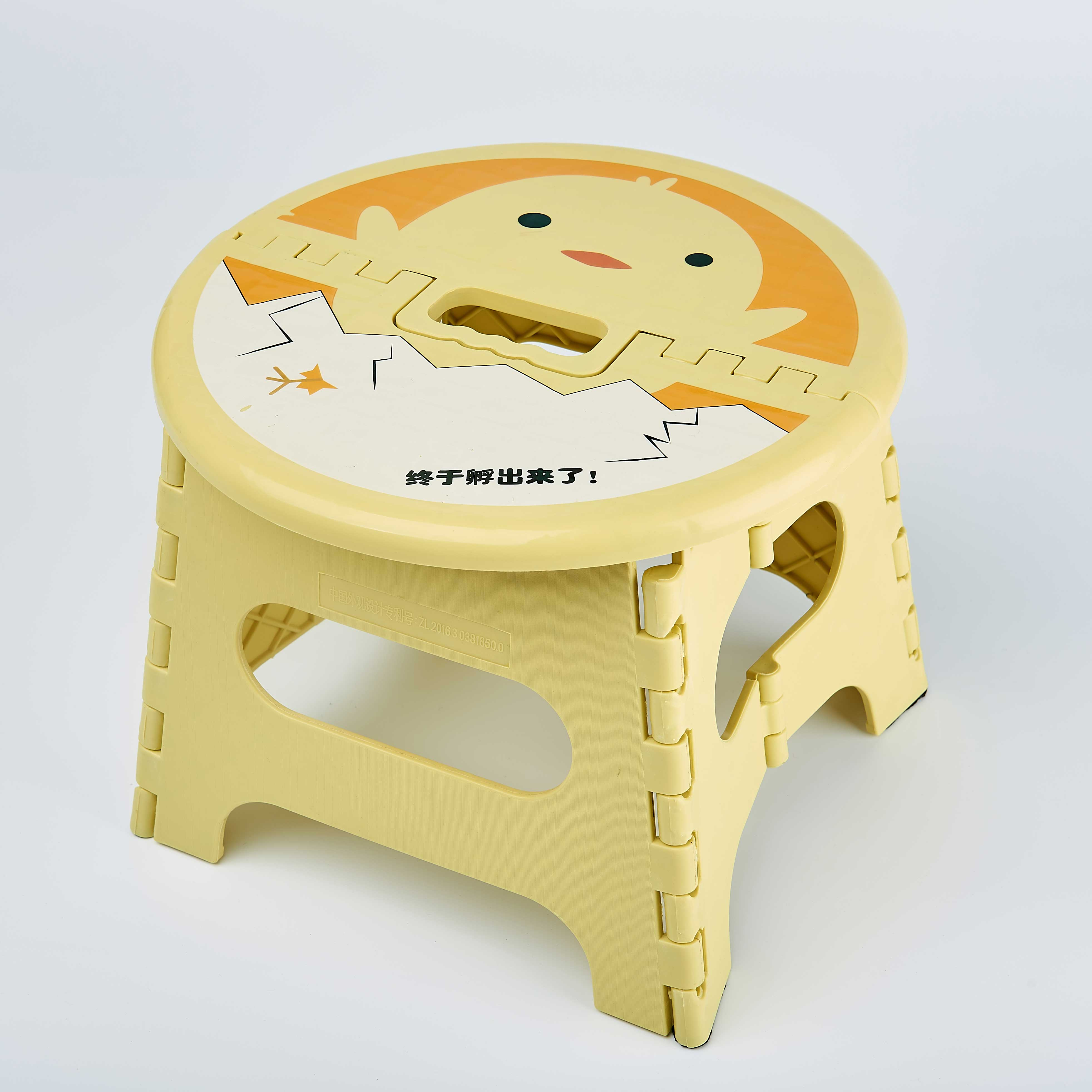 Thickened folding round stool cartoon mini small bench outdoor portable train plastic Maza children carrychair chair