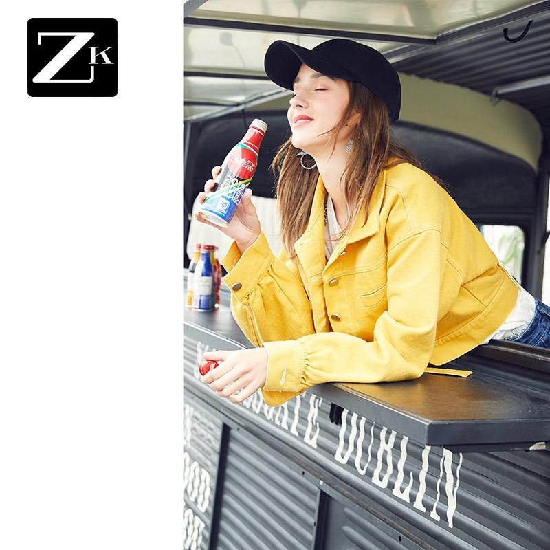 ZK黄色牛仔小外套女装韩版宽松bf小个子短款夹克2019春秋新款潮