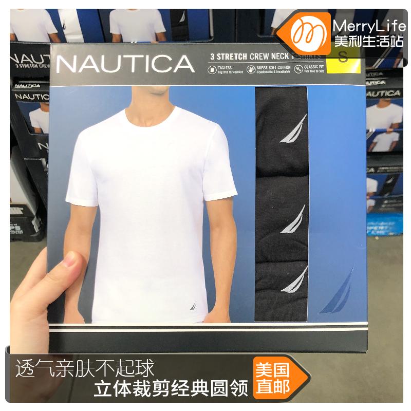 美国直邮 Nautica诺帝卡 男士短袖T恤 纯棉 打底衫上衣圆领 3件套