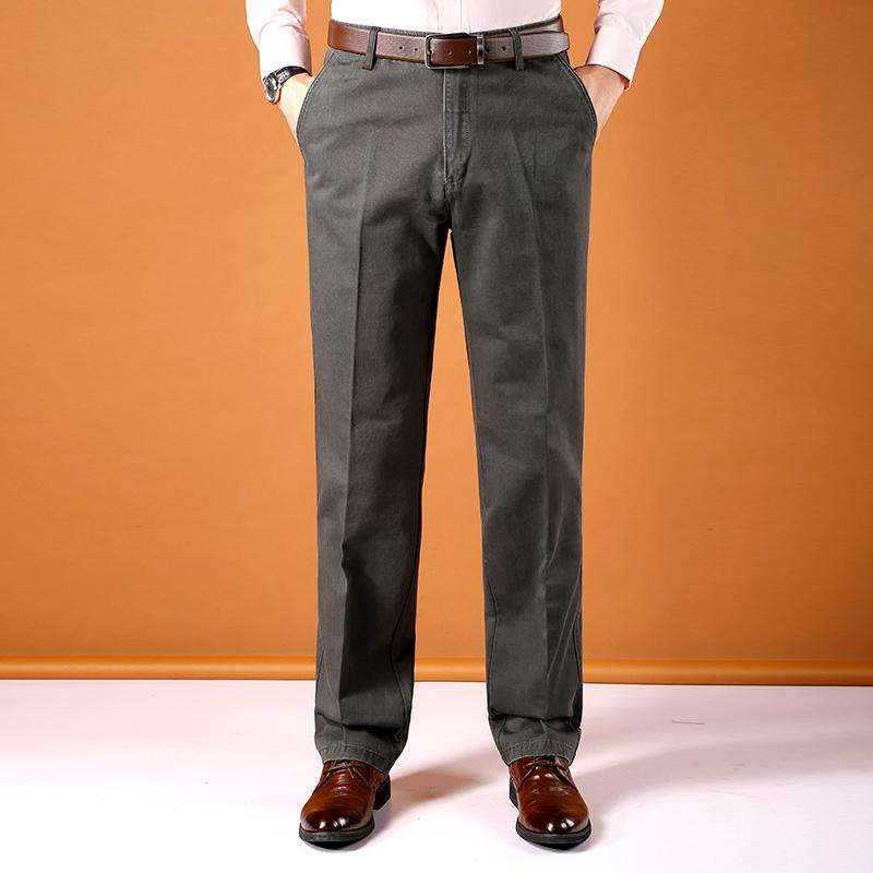 全棉中年男士休闲裤夏季薄款宽松高腰长裤中老年男裤爸爸裤子纯棉