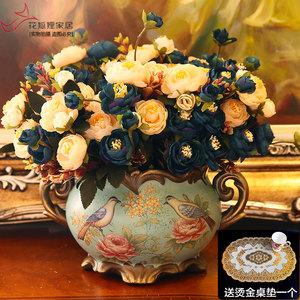欧式陶瓷花瓶创意摆件客厅装饰品复古美式仿真干花大号插花器花艺
