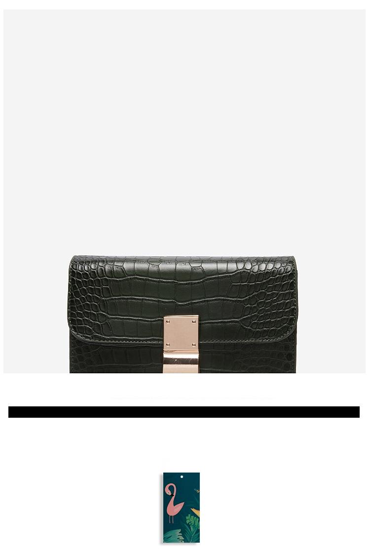 MUZI定制包包女2018冬季新款韩版百搭时尚锁扣鳄鱼纹单肩斜挎小包
