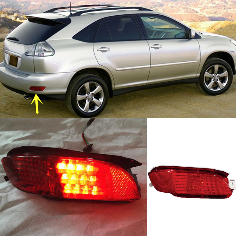For Lexus RX330 RX350 RX400h Red Lens Rear Bumper Reflector