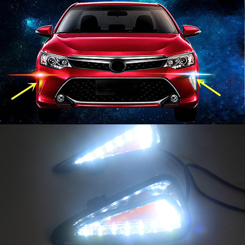 2x white yellow led daytime fog light drl run lamp for toyota camry 2015 2016. Black Bedroom Furniture Sets. Home Design Ideas