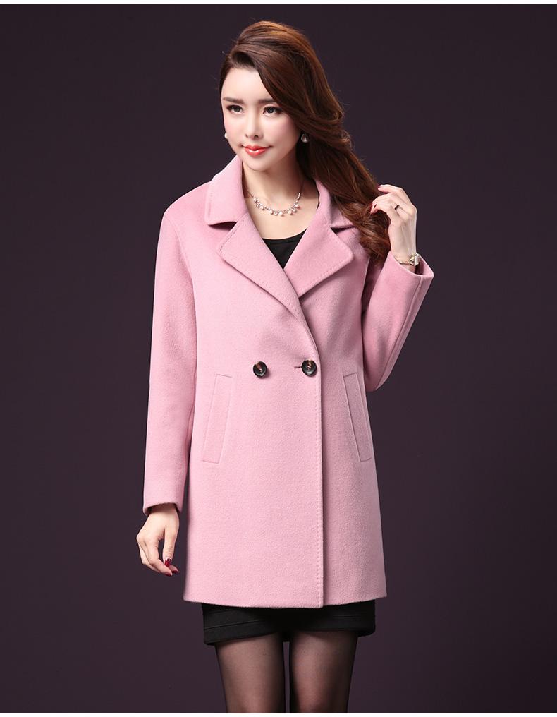 王小鸭冬季新品羊绒大衣宽松大码直筒羊毛呢外套双排扣呢子大衣女