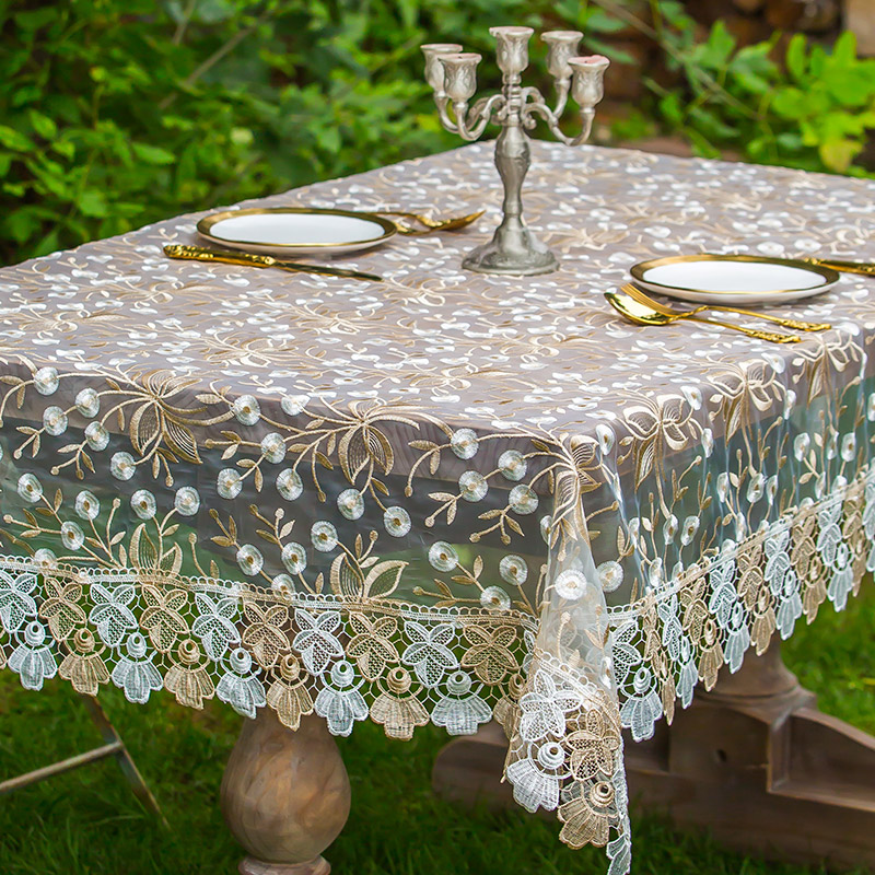 Thai Embroidered Coffee Table Tablecloth European Lace Cloth Fabric Cover Bedside Gl Yarn Round
