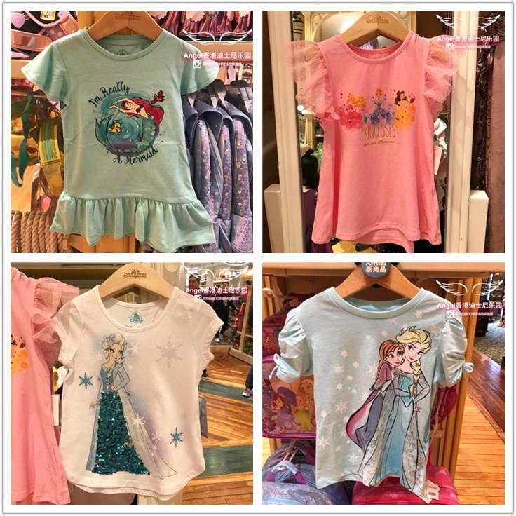 香港迪士尼女王公主短袖爱莎上衣冰雪系列乐园儿童奇缘T恤