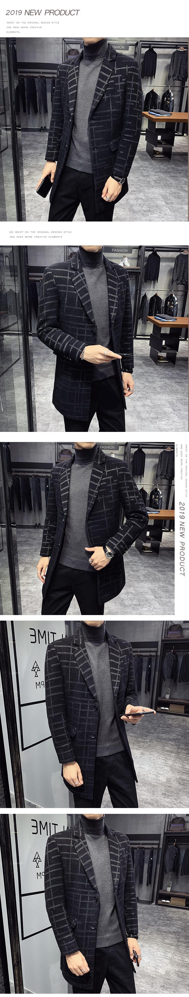19新款毛呢大衣 男中长款条纹呢子大衣修身外套风衣NF1812-P140