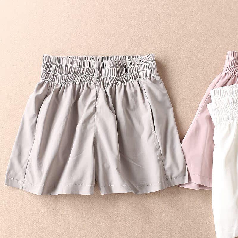 简约纯色 高腰情侣休闲裤 夏季双口袋薄款阔腿短裤女 WB1612