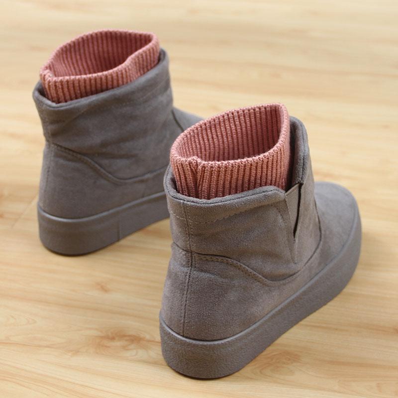冬季加绒雪地学生靴棉鞋女韩版短筒加厚a雪地厚底短靴女鞋棉靴人本