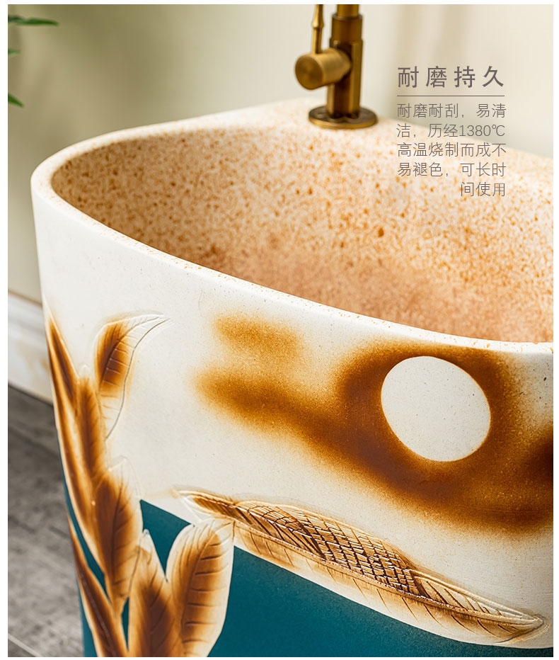 Automatic water is suing art ceramic mop mop pool of household toilet cleaning mop pool 3 basin of the balcony
