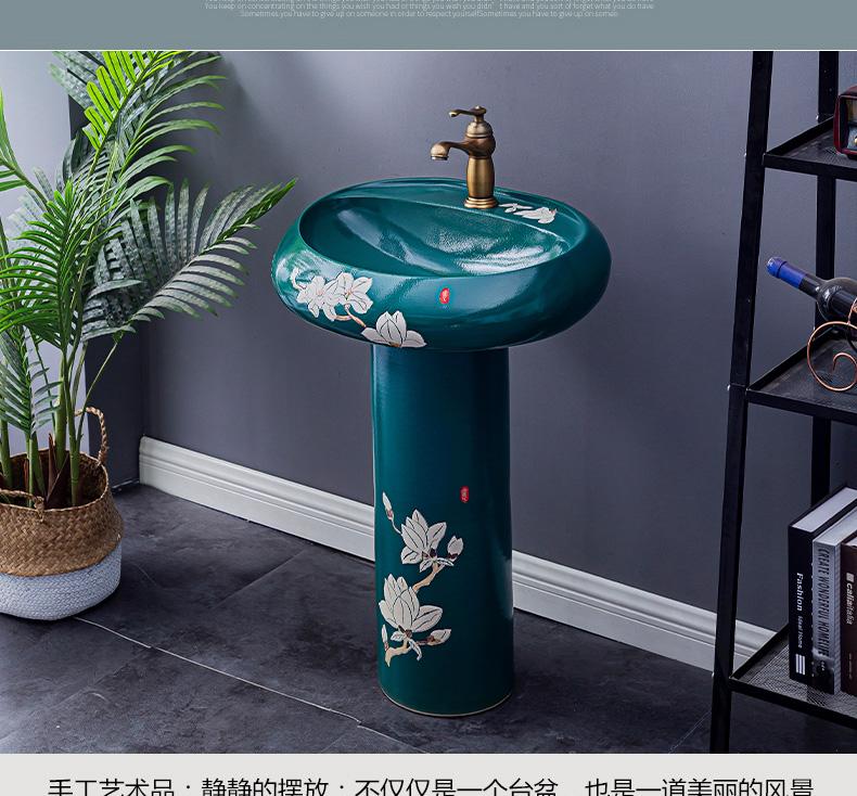 Household lavabo floor pillar basin courtyard balcony toilet stage basin integrated basin ceramic sinks. 2