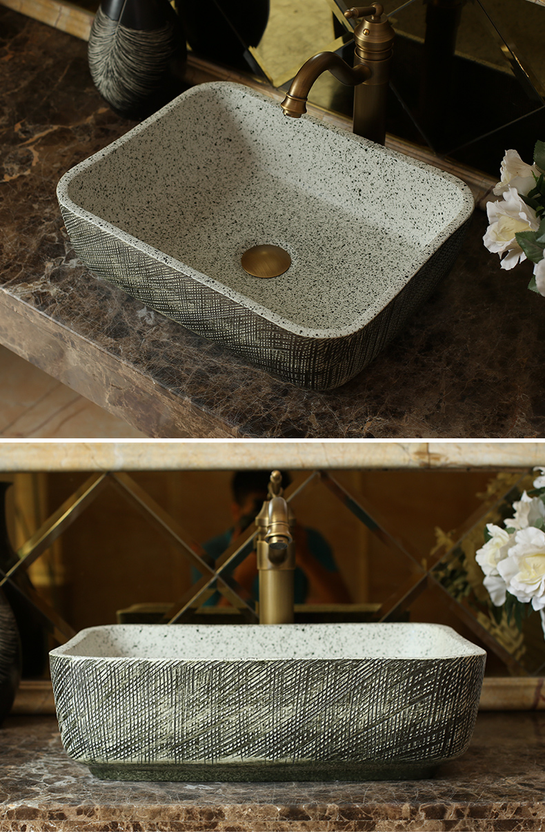 Jingdezhen ceramic art stage basin of archaize hotel for wash basin carved rectangular toilet lavabo