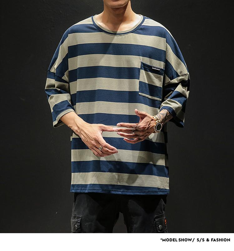 4日系条纹七分袖T恤男潮流加肥加大码青少年半袖宽松体恤T21P38