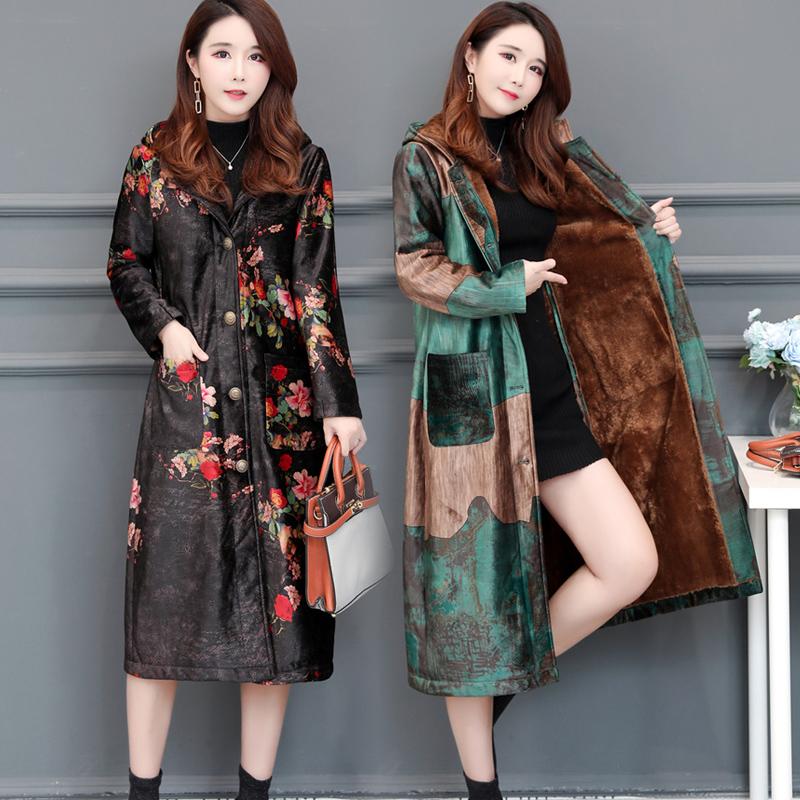 金丝绒棉衣女中长款民族风碎花加绒加厚冬季外套过膝2018新款棉服