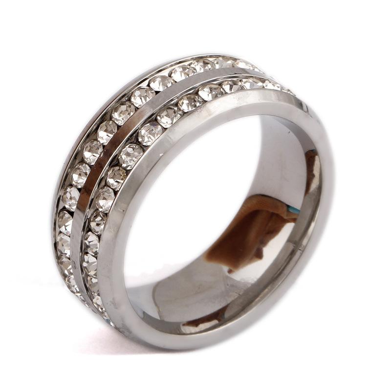 中國代購 中國批發-ibuy99 欧美戒指钢色镶两排钻钛钢戒指男女通用戒指