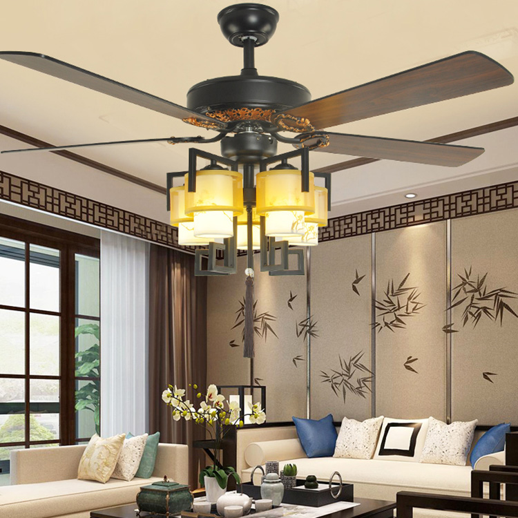 52 Inch Chinese Retro Ceiling Fan Lamp Restaurant Living Room Tea Building Style Led Variable Light Chandelier Electric