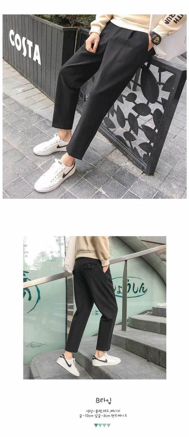 韩版潮流休闲裤厚呢料纯色西裤直筒九分裤小西装裤男呢子裤YG200