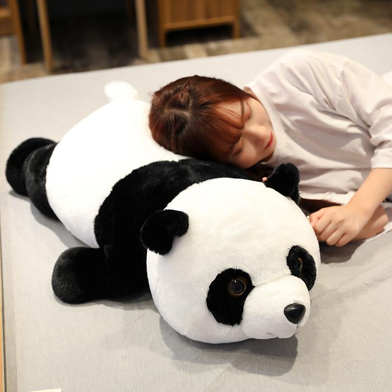 Búp bê gấu trúc dễ thương lớn đồ chơi sang trọng cô gái ngủ trên giường dài gối búp bê búp bê ôm gấu - Đồ chơi mềm
