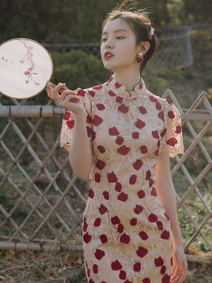2020夏季新款法式复古小众刺绣旗袍改良版连衣裙日常可穿显瘦气质