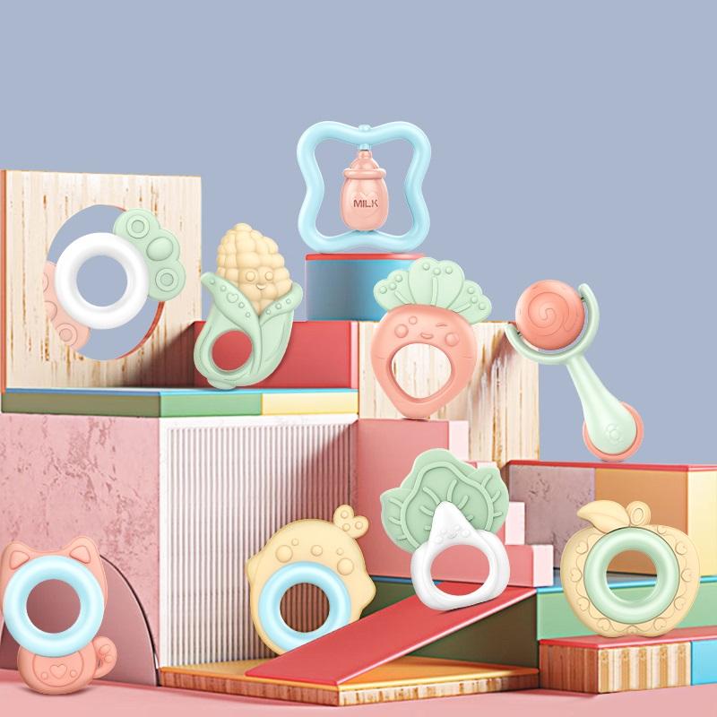 【優貝比】嬰幼兒玩具牙膠手搖鈴7件套裝