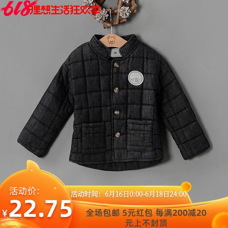 外套装小童折扣立领冬装格纹百搭贴布专柜品牌女童UG15806