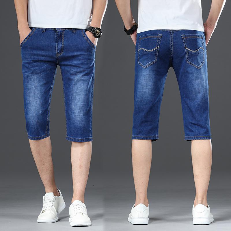 夏季薄款牛仔短裤男直筒七分裤修身中裤宽松潮流马裤7分休闲裤子