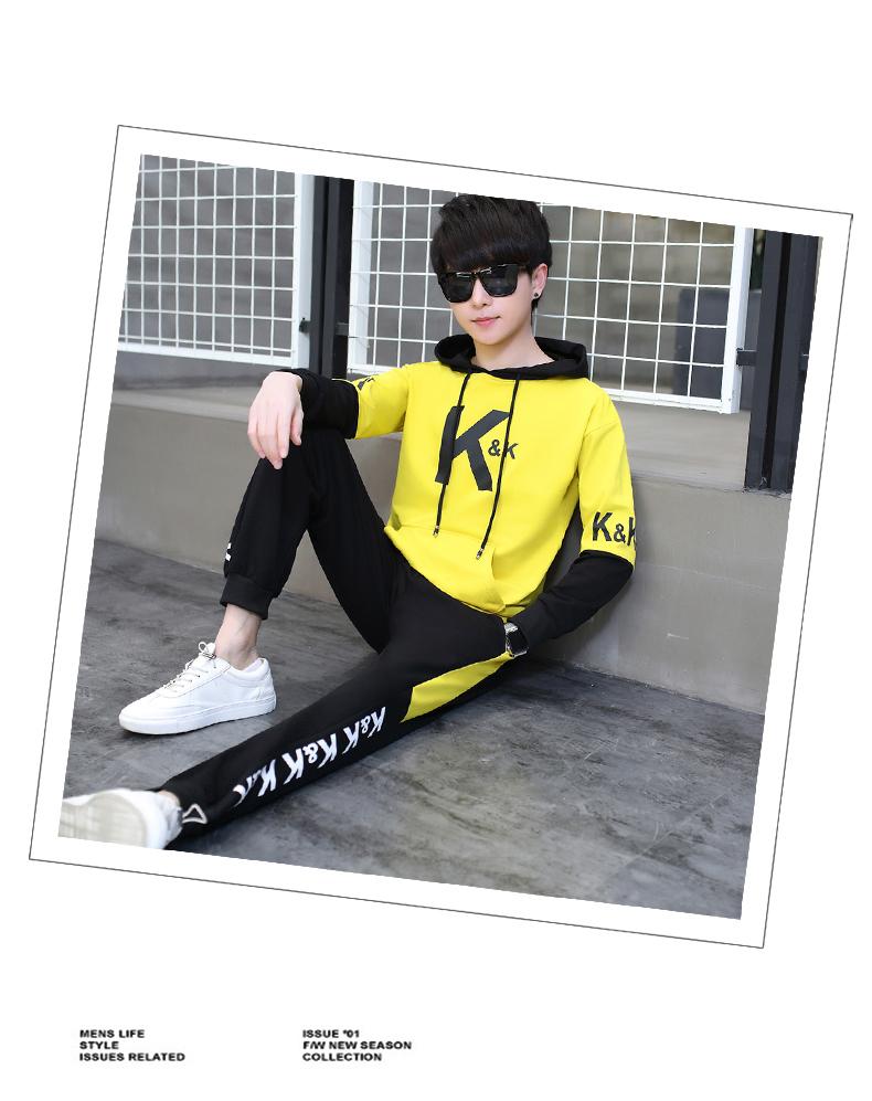 套装男士长袖卫衣青少年时尚印花休闲套装XZ313B-2--T130- P78