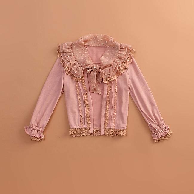 春秋款童装lizlisa蕾丝雪纺纯棉公主长袖韩版女童白衬衫披肩外套