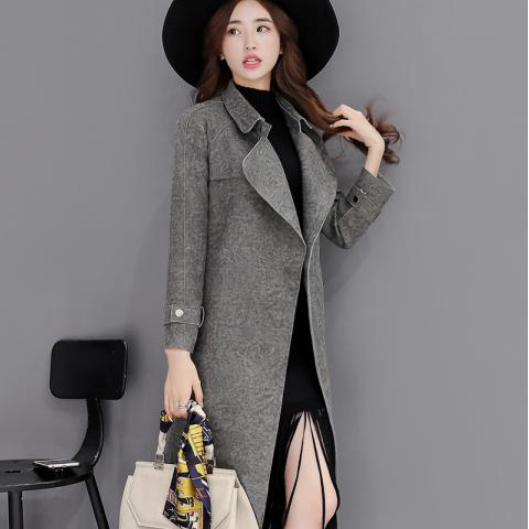 韩版女装OL风衣中长款修身