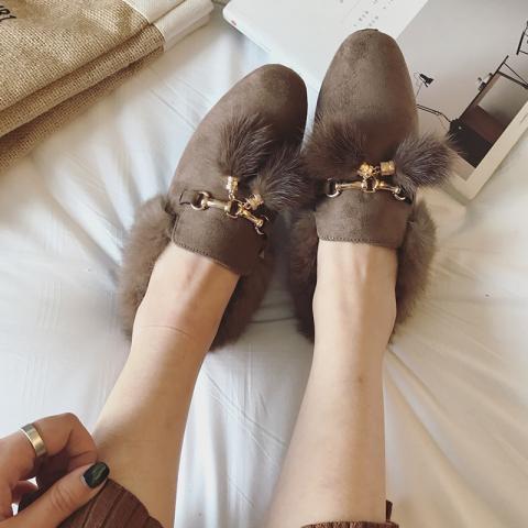 绒面半拖水貂毛毛鞋