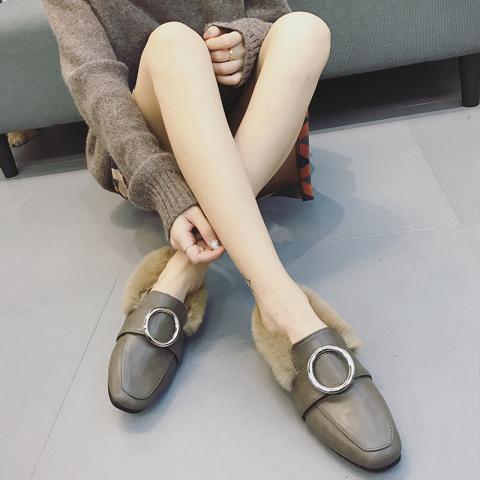 圆扣韩版平跟毛毛鞋