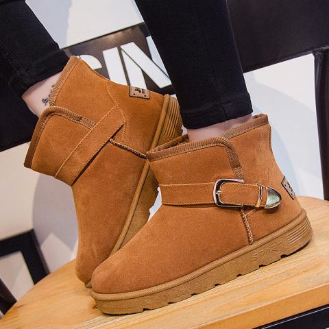 加绒保暖短筒搭扣雪地靴