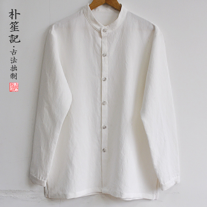 7207f5f0d Original linen shirt men's retro breathable Chinese bottoming shirt large  size stand collar Chinese style loose cotton and linen men's clothing