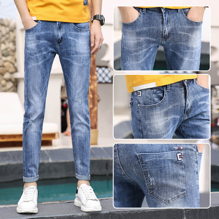 2019 New Style Spring Summer nan shi ku Korean-Style Fashion Trend Small Straight Slim Stretch Small Hole Jeans