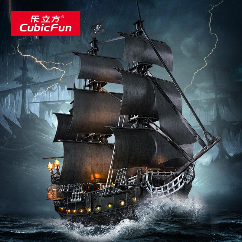 Черная жемчужина Пираты Карибского моря корабль 3D трехмерная головоломка для взрослых декомпрессионная игрушка Большая сборка модель корабля Le Cube