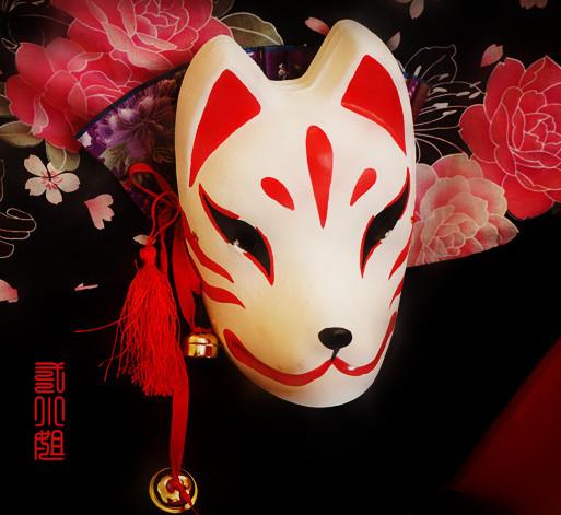 Японский зефир cosplay лиса маска зефир ручная роспись бесплатная доставка красный и белый монстр лиса два мисс домой