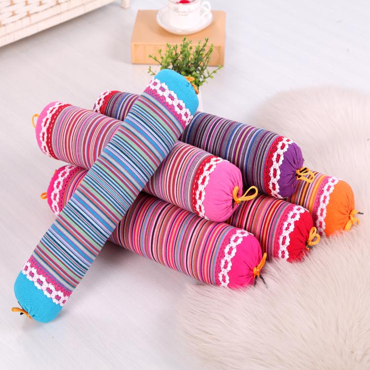 颈椎枕糖果枕护颈枕荞麦枕荞麦皮圆形枕头保健枕包邮