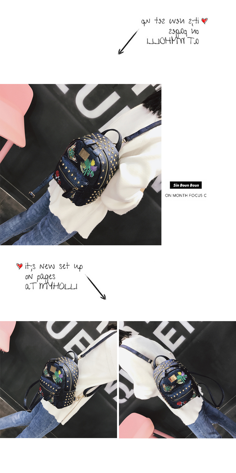 Korean version of the tide 2018 new retro embroidery rivets backpack casual wild multi-purpose small bag 33
