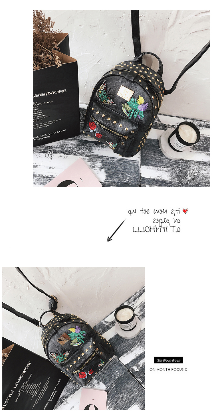 Korean version of the tide 2018 new retro embroidery rivets backpack casual wild multi-purpose small bag 40