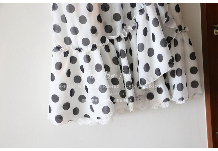 Châu âu và Hoa Kỳ thương hiệu lớn D với 2017 mùa hè mới điểm sóng mô phỏng mỏng lụa lá sen tay áo ren bên váy nữ đồ công sở nữ