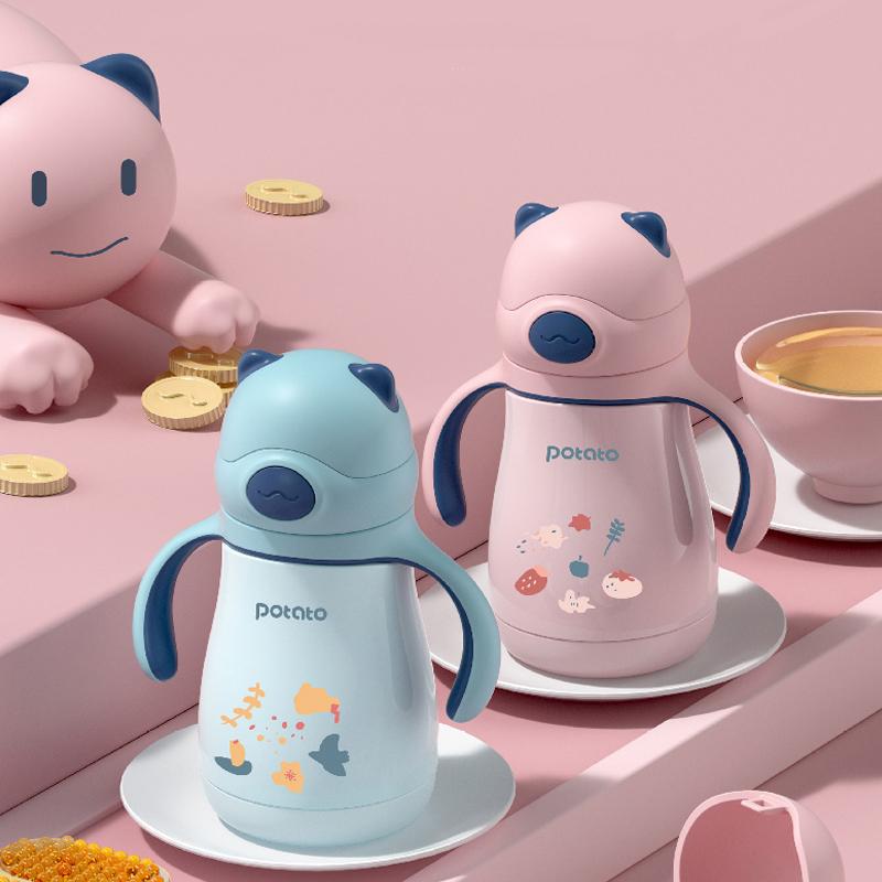 小土豆不锈钢儿童保温杯带吸管两用宝宝婴儿学饮鸭嘴杯喝水杯外出