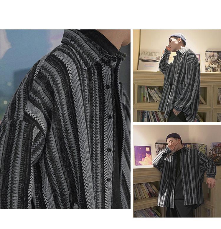 秋复古毛条纹呢料OVERSIZE长袖衬衫男 A360-C100-P75 控价98