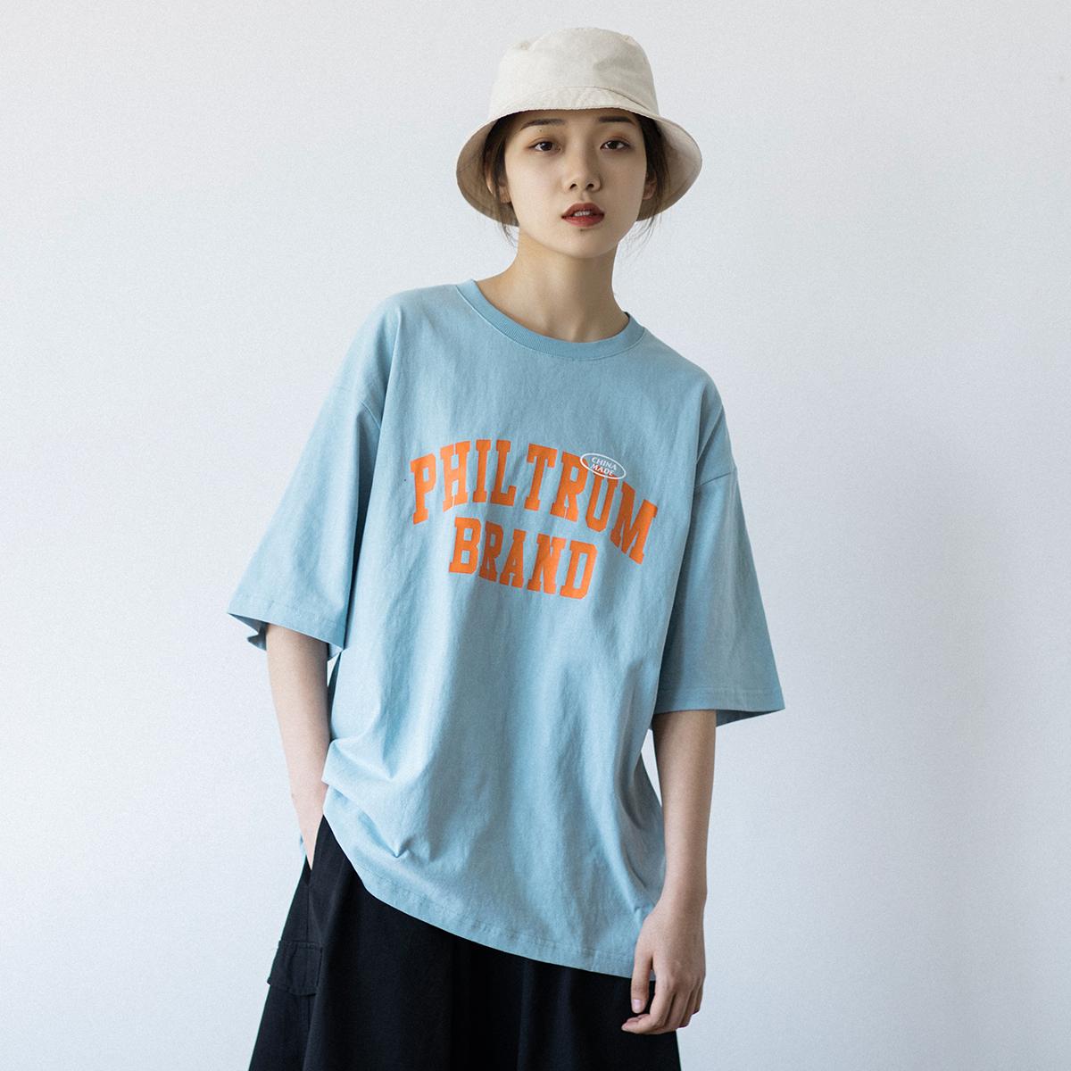 EpicSocotra日系街头bf风纯棉男女滑板印花字母T恤中性短袖体恤衫
