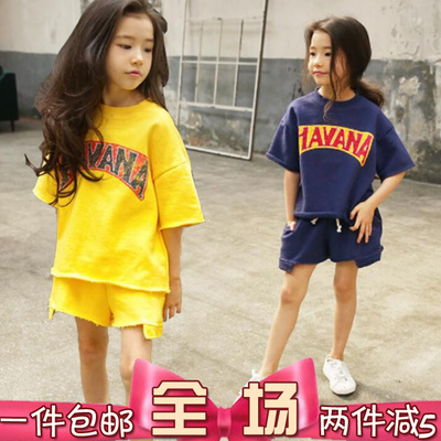 Girls summer sportswear set 2017 large children's cotton short-sleeved T-shirt shorts two-piece parent-child casual wear