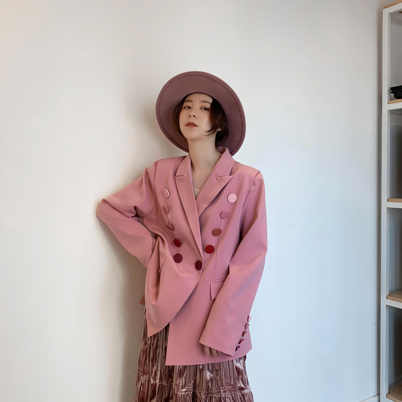 Middletone|渐变西服纽扣外套小西装粉色女2019春款