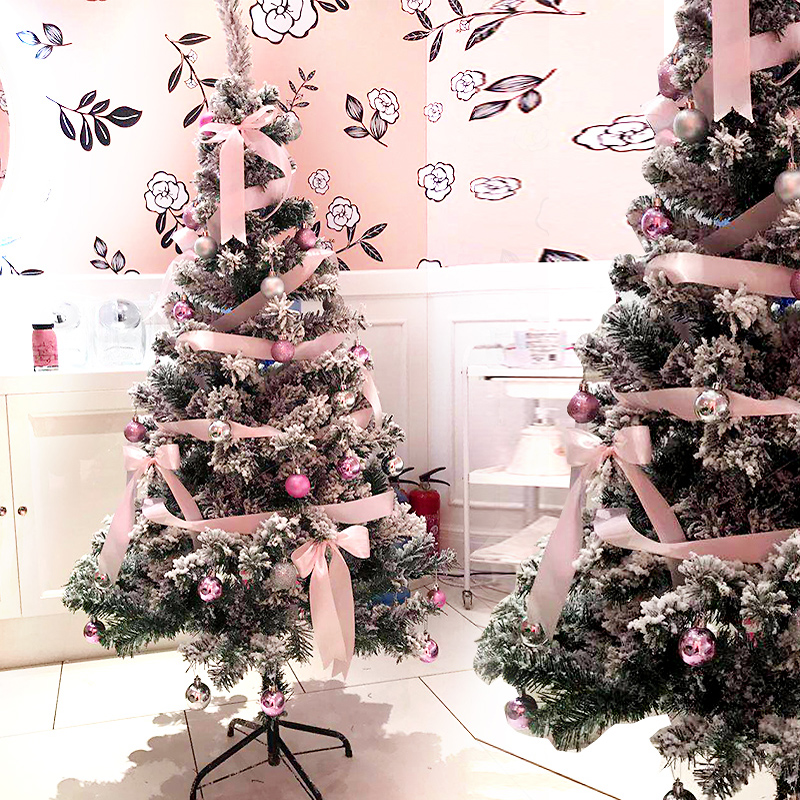 Christmas Tree Decorations For 2019: [USD 39.14] 2019 Christmas Decorations Pink White Flocking